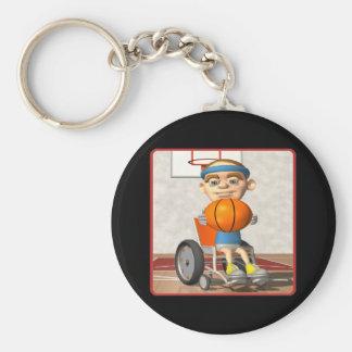 Baloncesto de la silla de rueda llavero redondo tipo pin