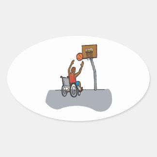 Baloncesto de la silla de rueda calcomania óval