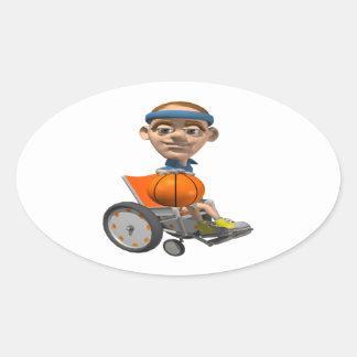 Baloncesto de la silla de rueda pegatinas de óval personalizadas
