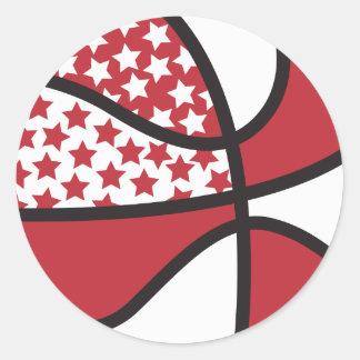 baloncesto de las estrellas del rojo y del blanco pegatina redonda