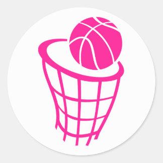 Baloncesto de las rosas fuertes pegatina redonda