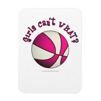Baloncesto de los chicas - blanco/rosa iman rectangular