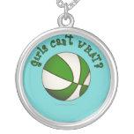 Baloncesto de los chicas - blanco/verde collar personalizado