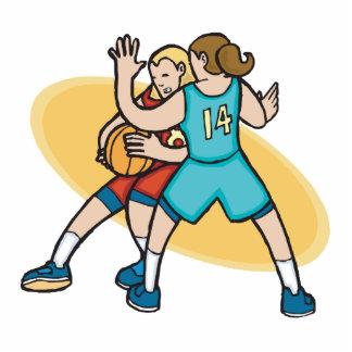 baloncesto de los chicas en la defensa escultura fotográfica