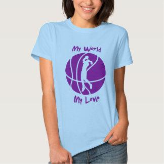 Baloncesto de los chicas mi mundo, mi amor remera