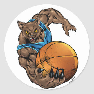 Baloncesto de los linces de los gatos monteses, pegatina redonda