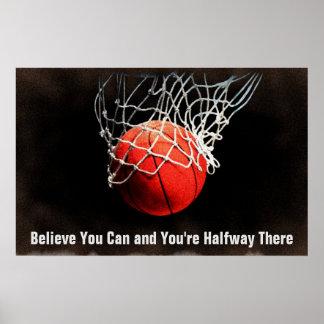 Baloncesto de motivación de la cita póster