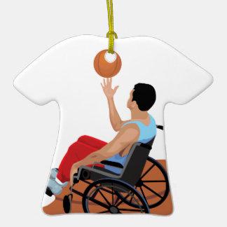 baloncesto de silla de ruedas adorno de cerámica en forma de playera