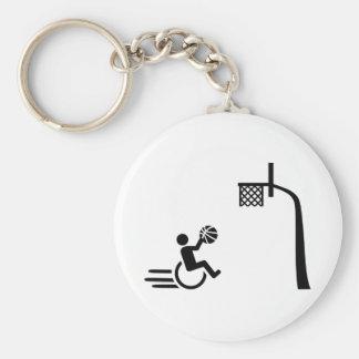Baloncesto de silla de ruedas llavero redondo tipo pin