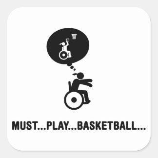Baloncesto de silla de ruedas pegatina cuadrada