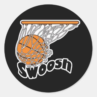 baloncesto de Swoosh Pegatina Redonda