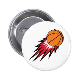 baloncesto de voladura de las llamas pin redondo de 2 pulgadas