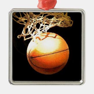 Baloncesto Adorno Cuadrado Plateado
