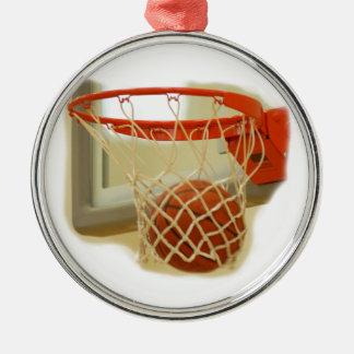 Baloncesto Adorno Redondo Plateado