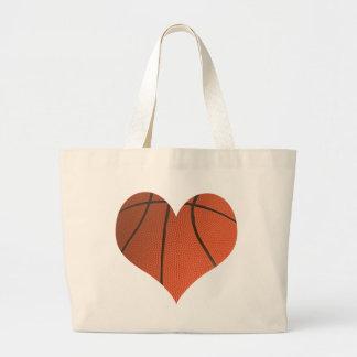 Baloncesto del amor bolsa tela grande