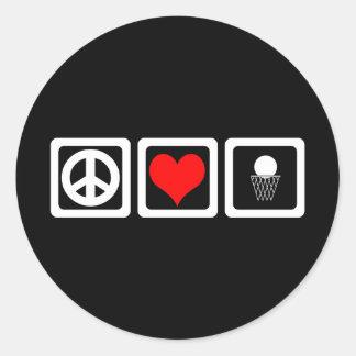 Baloncesto del amor de la paz pegatina redonda