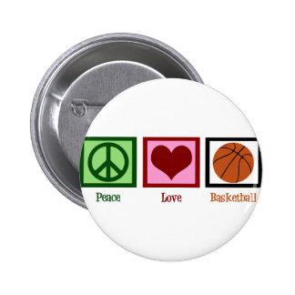 Baloncesto del amor de la paz pin redondo 5 cm