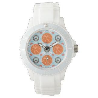 Baloncesto del amor de la paz relojes de mano