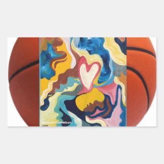 Baloncesto del amor pegatina rectangular