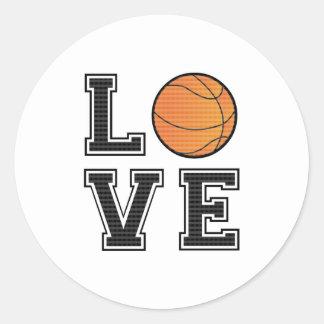 Baloncesto del amor pegatina redonda