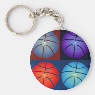 Baloncesto del arte pop de cuatro colores llavero redondo tipo pin