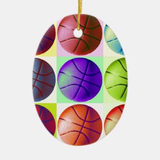 Baloncesto del arte pop adorno ovalado de cerámica