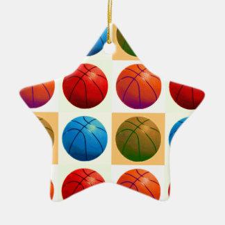 Baloncesto del arte pop adorno de cerámica en forma de estrella