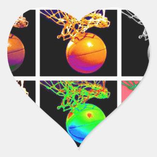 Baloncesto del arte pop pegatinas corazon