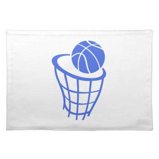 Baloncesto del azul real y del blanco manteles