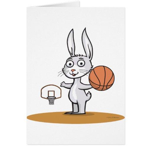 Baloncesto del conejito tarjeta de felicitación
