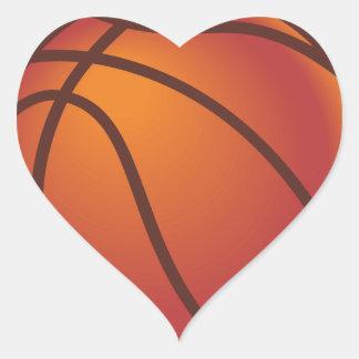 Baloncesto del dibujo animado calcomanías corazones personalizadas