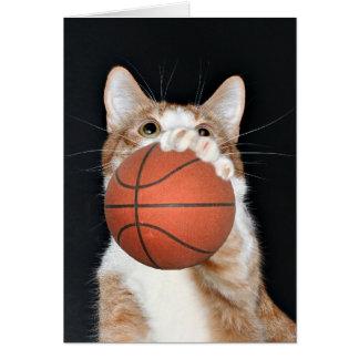 Baloncesto del gato tarjeta de felicitación