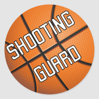 Baloncesto del guardia de tiroteo etiquetas redondas