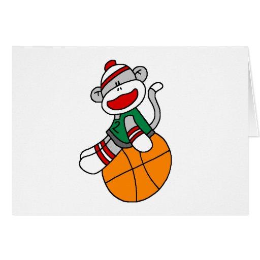 Baloncesto del mono del calcetín felicitación