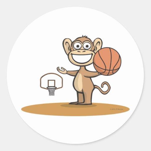 Baloncesto del mono pegatinas redondas