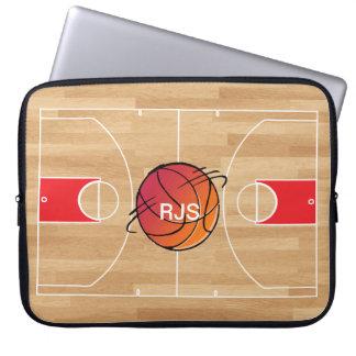 Baloncesto del monograma en la cancha de básquet fundas portátiles