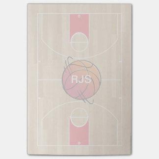 Baloncesto del monograma en la cancha de básquet post-it nota