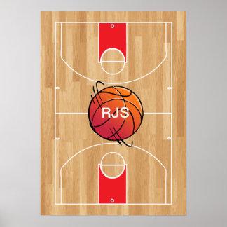 Baloncesto del monograma en la cancha de básquet póster