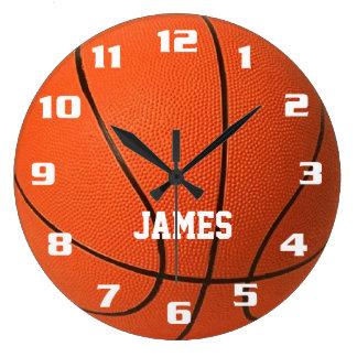 Baloncesto del monograma reloj redondo grande