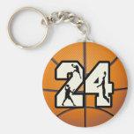 Baloncesto del número 24 llaveros