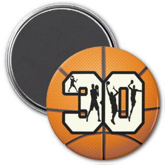Baloncesto del número 30 imán redondo 7 cm