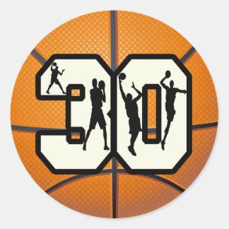 Baloncesto del número 30 pegatina redonda