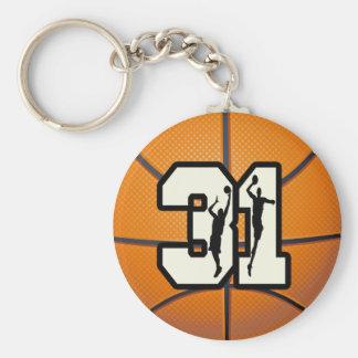 Baloncesto del número 31 llavero personalizado