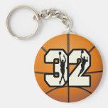 Baloncesto del número 32 llavero personalizado