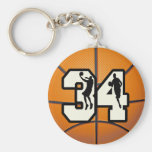 Baloncesto del número 34 llaveros personalizados