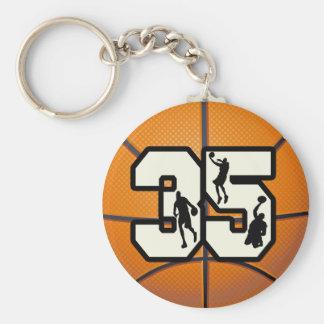 Baloncesto del número 35 llavero redondo tipo pin