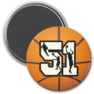 Baloncesto del número 51 imán redondo 7 cm