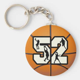 Baloncesto del número 52 llavero redondo tipo pin