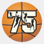 Baloncesto del número 75 etiqueta redonda
