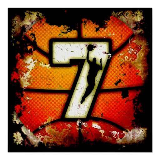 Baloncesto del número de estilo 7 del Grunge y Póster